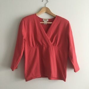 Talbots faux wrap sweater knit top w/ shoulder pad